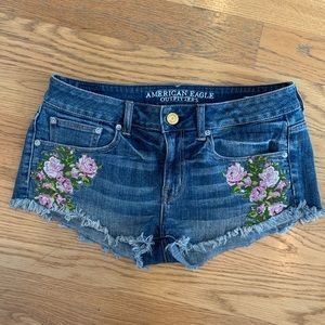 Embroidered AEO Denim Shorts